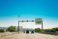 The movement of vehicles on freeway, motorway A8 near Nice, Fran. Nice, France - June 28, 2015: The movement of vehicles on freeway, motorway A8 near Nice royalty free stock images