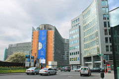 Movement of vehicles near buildings European Parliament  in Brus Royalty Free Stock Photography