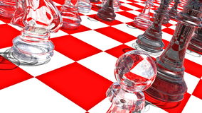 Movement of a view along the glass pieces on the red-white chessboard. 3D-Rendering. UHD - 4K stock video footage