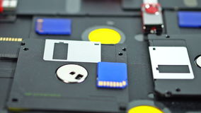 Movement of a view along the 5.25 and 3.5 inch floppy disks and the flash drives. UHD - 4K stock video
