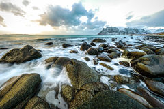 Movement of water on the shores of cold Norwegian Sea at evening time. Lofoten islands. Beautiful Norway landscape. Royalty Free Stock Images