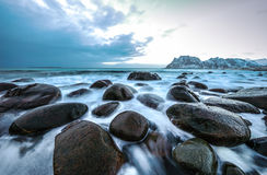 Movement of water on the shores of cold Norwegian Sea at evening time. Lofoten islands. Beautiful Norway landscape. Royalty Free Stock Photography