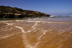Beautiful beach near the mouth of the river stock photography