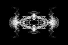Movement of white smoke, white smoke on black. Background Stock Images