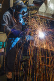 Movement worker with protective mask welding metal. Worker with protective mask welding metal in the automotive parts industry Stock Photo