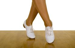 Movements Of Tap-Top/Clog Dance. Close up, on white Stock Photos