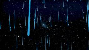 Movendo-se através do espaço estelar, abstração bonita com as estrelas azuis de queda do cosmos, conceito da infinidade animation ilustração royalty free