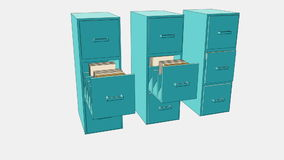 Movendo três armários com gavetas e originais ilustração royalty free