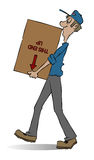 Mover. A mover carrying a box. He doesn't seem to care what's in the box Stock Images