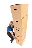Mover with boxes Stock Image