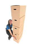 Mover with boxes Stock Images