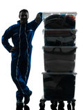 Mover with boxes silhouette Stock Photography