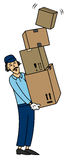 Mover. Cartoon style illustration of mover with many boxes Stock Photo