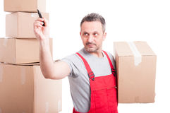 Mover guy holding box and drawing on invisible board Royalty Free Stock Images