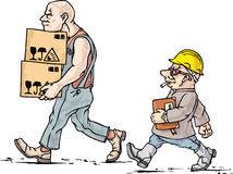 The mover and his boss. Tall and small. The mover and his boss at their work Stock Images