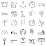 Mover icons set, outline style Stock Image