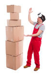 Mover man looking surprised with VR glasses off Royalty Free Stock Photography