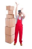 Mover man wearing virtual reality glasses holding something up Stock Photography
