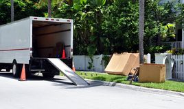 Mover's Van On Street royalty free stock photos