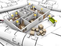 Mover-se da casa e conceito da reabilitação ilustração do vetor