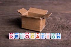 Mover-se para um outro escritório ou casa Internamento da palavra foto de stock