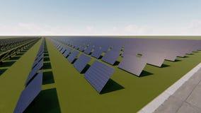 Mover-se perto de uma exploração agrícola dos painéis solares ilustração stock