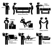 Mover Services Moving House Office Goods Logistic Cliparts Icons. A set of human pictogram representing the mover services and transportation available Royalty Free Stock Images