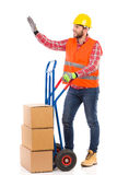 Mover waving hand Stock Photography