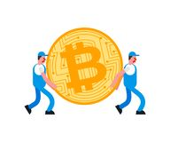 Movers and bitcoin. Porters carry BTC. Delivery service. Loader mover man holding. Moving Vector illustration.  royalty free illustration