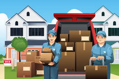 Movers carrying boxes. A vector illustration of moviers carrying boxes in front of their truck Stock Photos