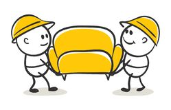 Movers. Funny little men carry a sofa, vector illustration royalty free illustration