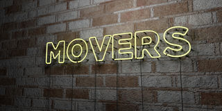 MOVERS - Glowing Neon Sign on stonework wall - 3D rendered royalty free stock illustration. Can be used for online banner ads and direct mailers royalty free illustration