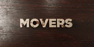 Movers - grungy wooden headline on Maple - 3D rendered royalty free stock image. This image can be used for an online website banner ad or a print postcard vector illustration