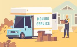 Movers helping to put boxes stock illustration