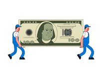 Movers and large money. Porters carry Big dollar. Delivery service. Loader mover man holding. Moving Vector illustration royalty free illustration