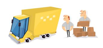 Movers load boxes into a truck. Transport service. Cartoon character funny and comic style stock illustration
