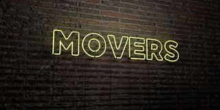 MOVERS -Realistic Neon Sign on Brick Wall background - 3D rendered royalty free stock image. Can be used for online banner ads and direct mailers stock illustration