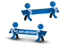 Movers Two Man Carrying We Are Moving Signboard Stock Photography