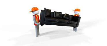 Movers. Two workers in reflective vest carrying a sofa vector illustration