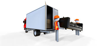 Movers. Two workers in reflective vest carrying a sofa stock illustration