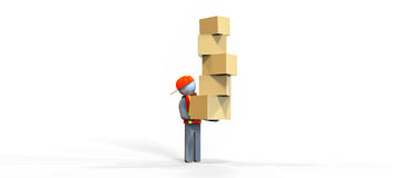 Movers. A worker in reflective vest carrying cardboard boxes vector illustration