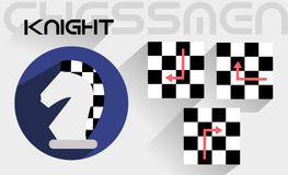 The moves of the chess knight Stock Images