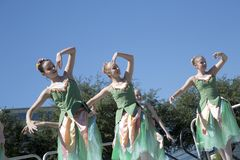 Moves of the  pretty ballet dancers are graceful Royalty Free Stock Image