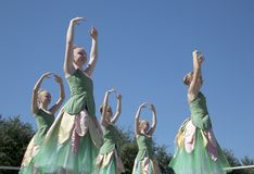 Moves of the teenage ballet dancers are graceful Royalty Free Stock Photos