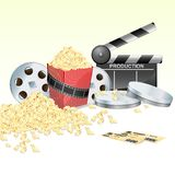 Movie. Illustration of clapper board with movie reel ticket and pop corn on isolated white background Royalty Free Stock Photos