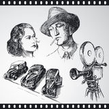 Movie. Hand drawn vintage collection Royalty Free Stock Photos
