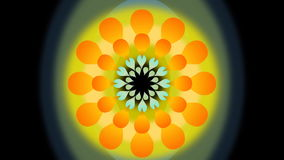 Movie of abstract dancing flower with blurry circle. Yellow and orange fantasy rotating flower shape on black background. stock video