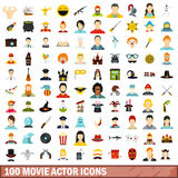 100 movie actor icons set, flat style. 100 movie actor icons set in flat style for any design vector illustration Stock Images