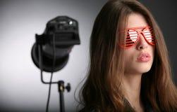 Movie actress. Portrait of the movie actress in studio Stock Photos
