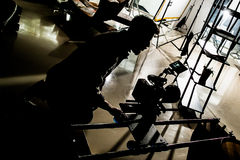 Movie Auditions & Casting backstage lights and body silhouettes Stock Photos